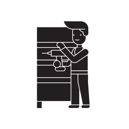 Furniture assembly black vector concept icon. Furniture assembly flat illustration, sign, symbol