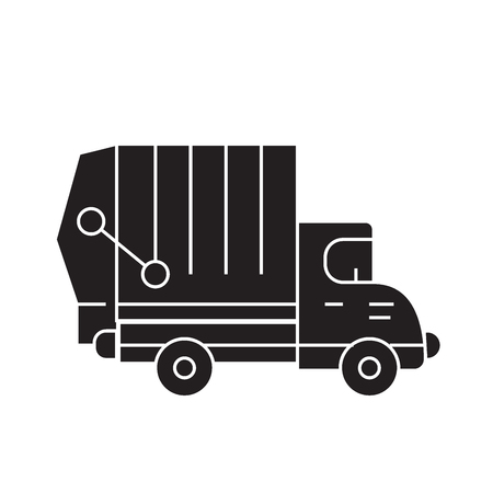 Garbage truck black vector concept icon. Garbage truck flat illustration, sign, symbol Illustration