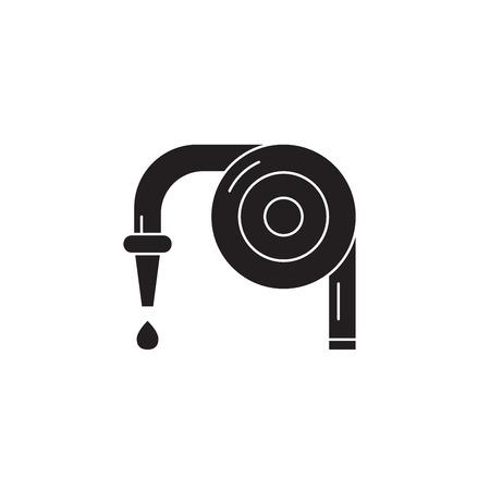 Garden hose black vector concept icon. Garden hose flat illustration, sign, symbol Çizim
