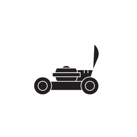 Garden lawnmover black vector concept icon. Garden lawnmover flat illustration, sign, symbol Illustration