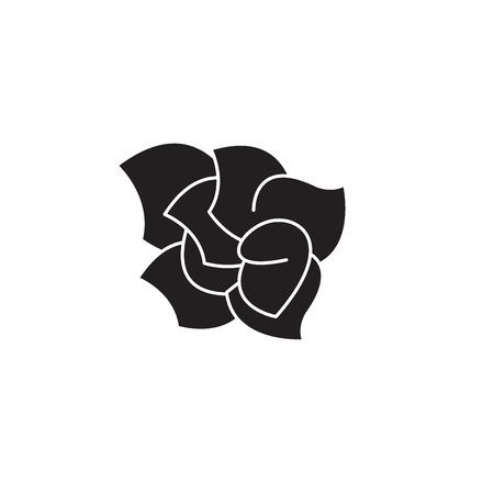 Gardenia black vector concept icon. Gardenia flat illustration, sign, symbol