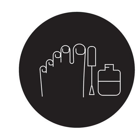 Gel polish pedicure black vector concept icon. Gel polish pedicure flat illustration, sign, symbol