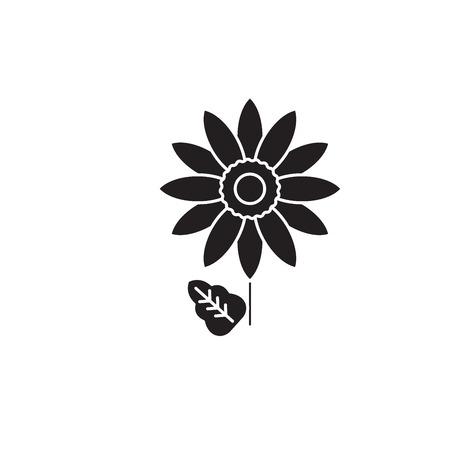 Gerbera black vector concept icon. Gerbera flat illustration, sign, symbol