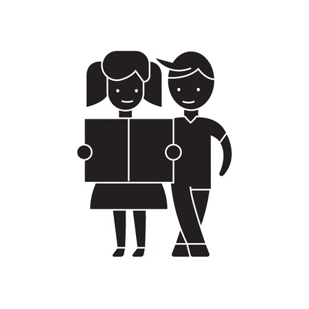 Girl and a boy reading black vector concept icon. Girl and a boy reading flat illustration, sign, symbol