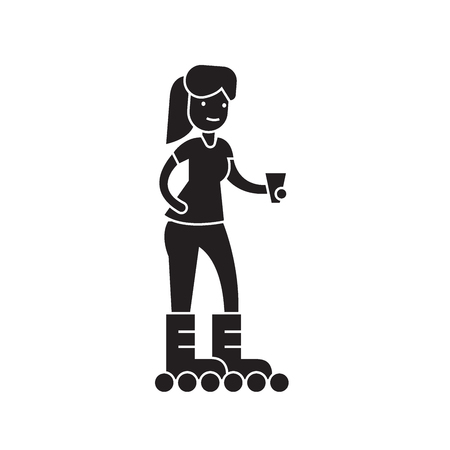 Girl roller skating black vector concept icon. Girl roller skating flat illustration, sign, symbol Standard-Bild - 126906197