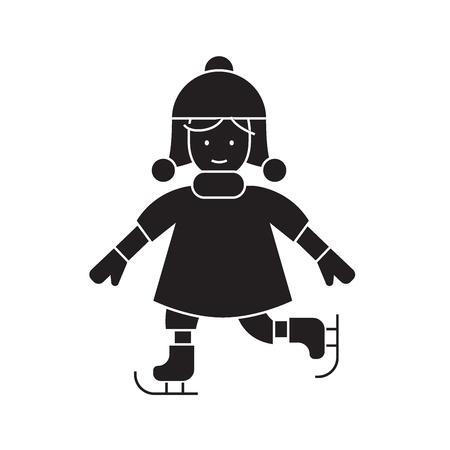 Girl skating black vector concept icon. Girl skating flat illustration, sign, symbol Ilustração