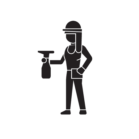 Girl with a sprayer black vector concept icon. Girl with a sprayer flat illustration, sign, symbol Illusztráció