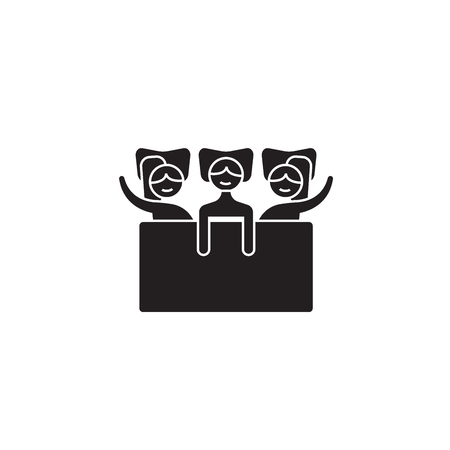 Girls sleepover black vector concept icon. Girls sleepover flat illustration, sign, symbol Stock Illustratie