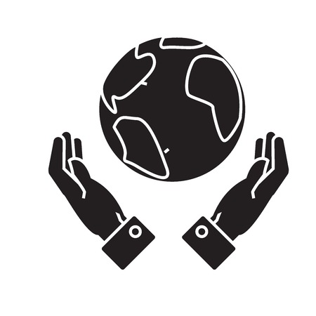 Globalization in hands black vector concept icon. Globalization in hands flat illustration, sign, symbol 向量圖像