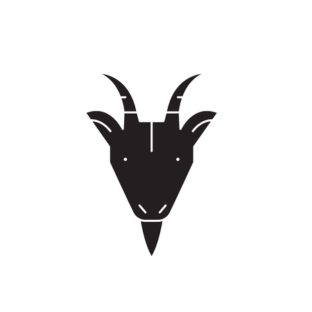 Goat head black vector concept icon. Goat head flat illustration, sign, symbol
