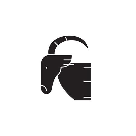 Goat head black vector concept icon. Goat head flat illustration, sign, symbol