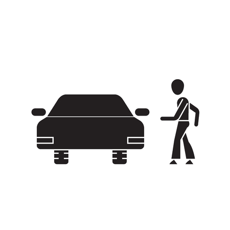 Going for a car ride black vector concept icon. Going for a car ride flat illustration, sign, symbol 일러스트