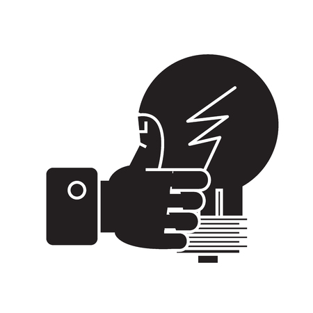 Good idea, hand with thumb up black vector concept icon. Good idea, hand with thumb up flat illustration, sign, symbol Banque d'images - 113758373