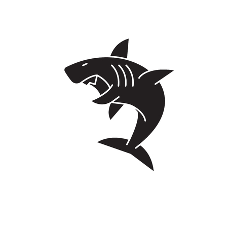 Great white shark black vector concept icon. Great white shark flat illustration, sign, symbol