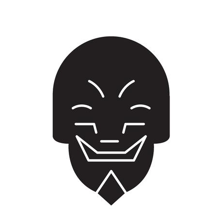 Grimacing mask emoji black vector concept icon. Grimacing mask emoji flat illustration, sign, symbol