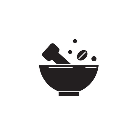 Grinding spices black vector concept icon. Grinding spices flat illustration, sign, symbol