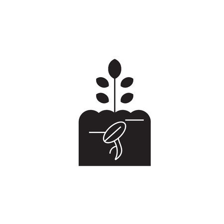 Growing sprout black vector concept icon. Growing sprout flat illustration, sign, symbol 向量圖像