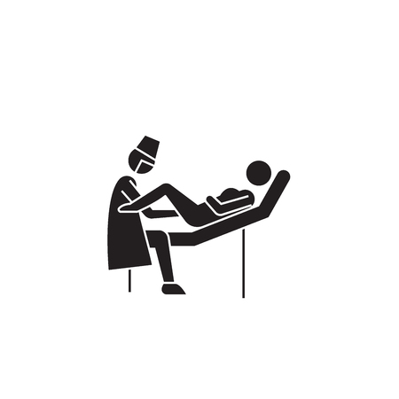 Gynecologist visit black vector concept icon. Gynecologist visit flat illustration, sign, symbol