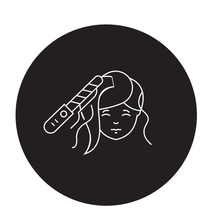 Hair styling black vector concept icon. Hair styling flat illustration, sign, symbol