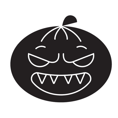 Halloween emoji black vector concept icon. Halloween emoji flat illustration, sign, symbol