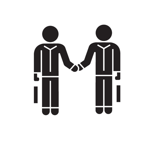 Hand shaking businessmen, agreement black vector concept icon. Hand shaking businessmen, agreement flat illustration, sign, symbol