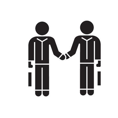 Hommes d'affaires serrant la main, icône de concept de vecteur noir d'accord. Hommes d'affaires serrant la main, illustration plate d'accord, signe, symbole Vecteurs