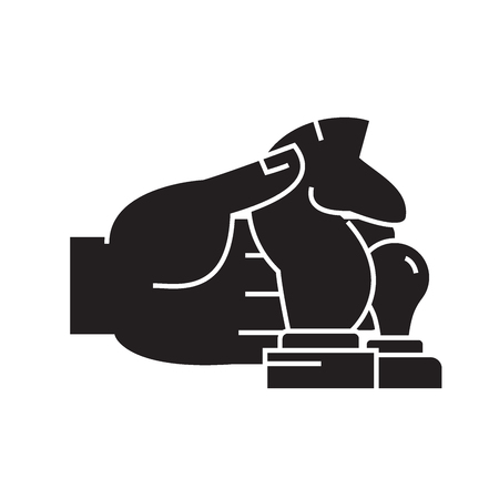 Hand with chess figures black vector concept icon. Hand with chess figures flat illustration, sign, symbol Illustration
