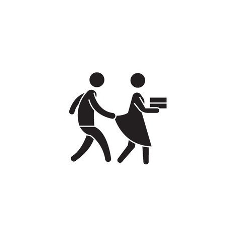 Harassment behevior black vector concept icon. Harassment behevior flat illustration, sign, symbol
