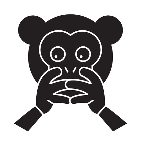 Hear no evil emoji black vector concept icon. Hear no evil emoji flat illustration, sign, symbol