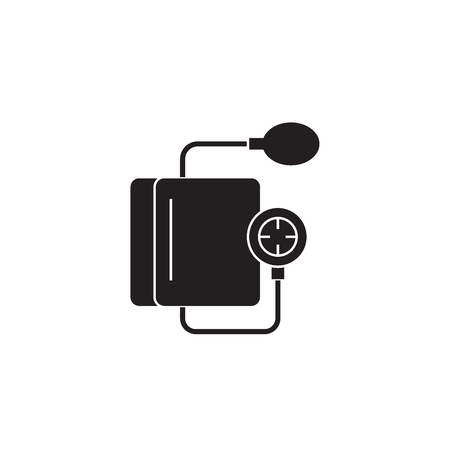 Heart rate measurement black vector concept icon. Heart rate measurement flat illustration, sign, symbol Banque d'images - 113639678