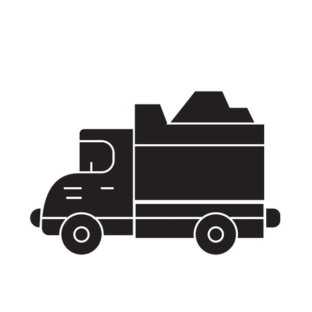 Heavy truck black vector concept icon. Heavy truck flat illustration, sign, symbol