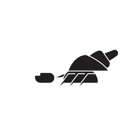 Hermit crab black vector concept icon. Hermit crab flat illustration, sign, symbol Illustration