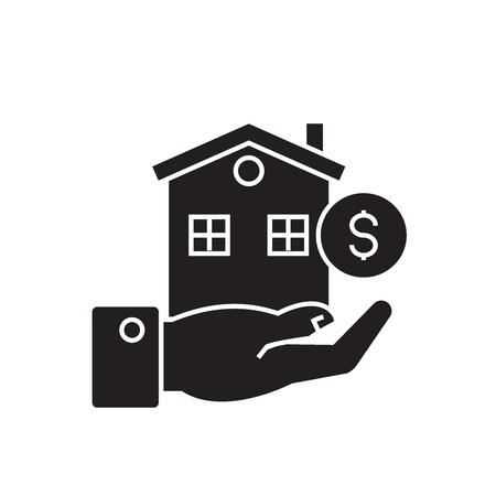 Home loan black vector concept icon. Home loan flat illustration, sign, symbol