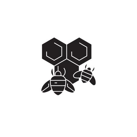 Honey bee black vector concept icon. Honey bee flat illustration, sign, symbol