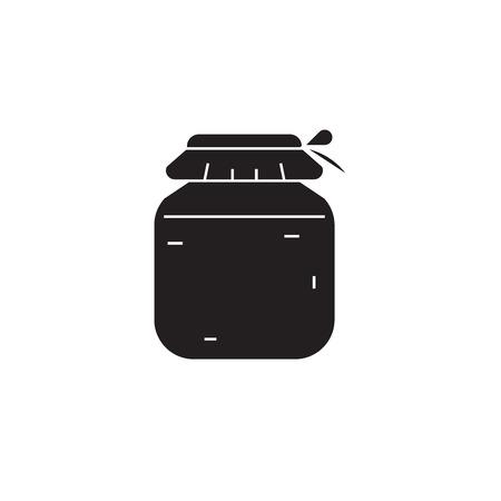 Honey jar black vector concept icon. Honey jar flat illustration, sign, symbol