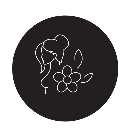 Hormonal balance black vector concept icon. Hormonal balance flat illustration, sign, symbol