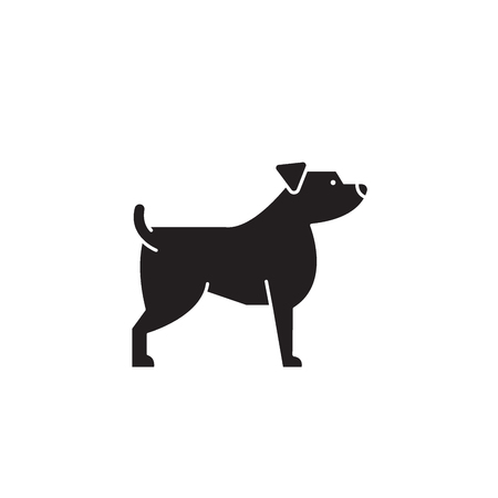 Jack russell terrier black vector concept icon. Jack russell terrier flat illustration, sign, symbol Ilustrace