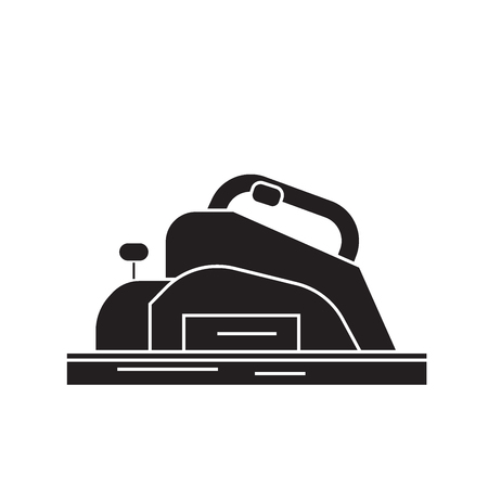 Joinery machine black vector concept icon. Joinery machine flat illustration, sign, symbol