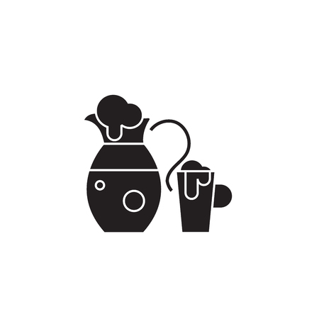 Jug with bear black vector concept icon. Jug with bear flat illustration, sign, symbol