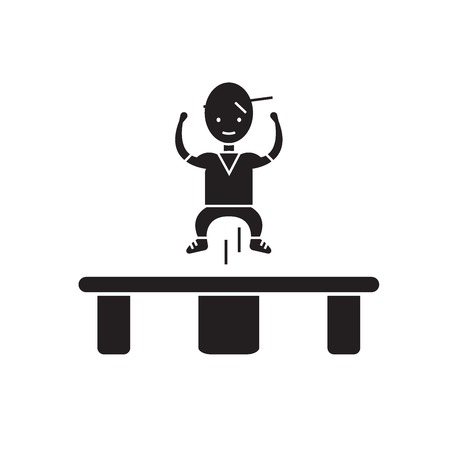 Jumping on trampoline  black vector concept icon. Jumping on trampoline  flat illustration, sign, symbol