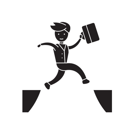 Jumping over black vector concept icon. Jumping over flat illustration, sign, symbol Illustration