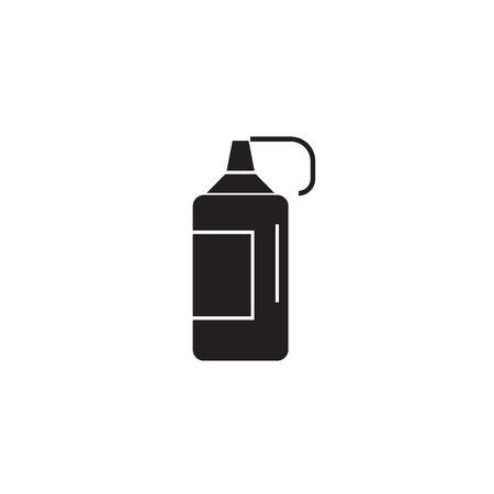Ketchup bottle black vector concept icon. Ketchup bottle flat illustration, sign, symbol