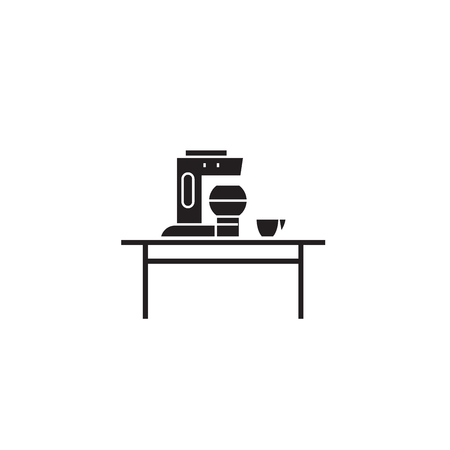 Household juicer black vector concept icon. Household juicer flat illustration, sign, symbol