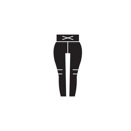 Leggings black vector concept icon. Leggings flat illustration, sign, symbol