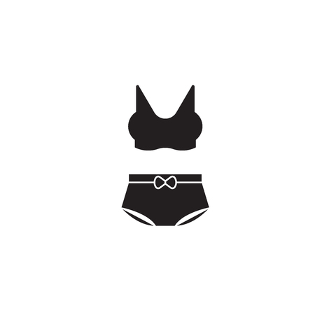Lingierie bikini black vector concept icon. Lingierie bikini flat illustration, sign, symbol