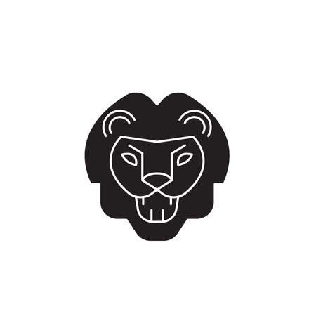 Lion roar black vector concept icon. Lion roar flat illustration, sign, symbol Ilustração