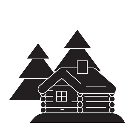 Log cabin black vector concept icon. Log cabin flat illustration, sign, symbol