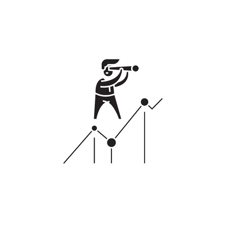 Looking for opportunities black vector concept icon. Looking for opportunities flat illustration, sign, symbol 向量圖像