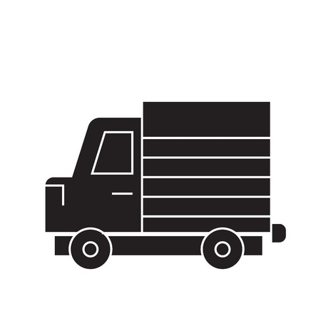 Lorry truck black vector concept icon. Lorry truck flat illustration, sign, symbol Illustration