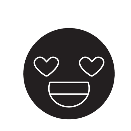 Love you emoji black vector concept icon. Love you emoji flat illustration, sign, symbol